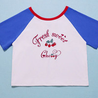 Embroidered cherries white T shirt reversible