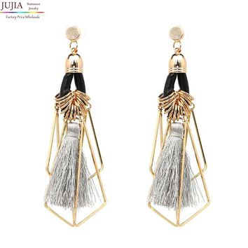 JUJIA new 2017 tassel earrings fashion women statement tassel Earrings for women girl party stud earring
