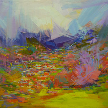 Abstract Landscape Painting Original Landscape Oil Artwork of Mountains - Colorful Canvas Art by Yuri Pysar