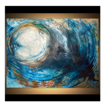 "SALE + FREE SHIP Large Wall Art , Original textured painting, Abstract art, Contemporary art, Fluid Acrylic "" Blue Moon"" by Holly Anderson"