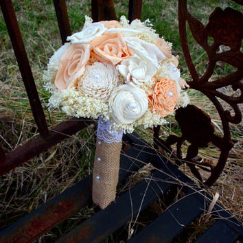 Rustic bridal bouquet peach and cream bridal bouquet sola flower bouquet wedding accessories wedding decorations rustic wedding
