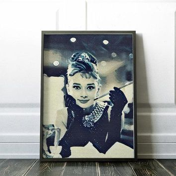 Audrey Hepburn Tiffany Movie Poster Art Canvas Print