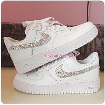Customized Nike Air Force 1 Running Shoes Sneakers Workout Bling Swarovski  Crystals Si e56e813d77