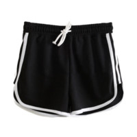 Black White Stripe Shorts