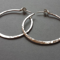 Hammered Sterling Silver Hoop Earrings Post