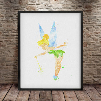 Tinkerbell, Tinkerbell Art Print, Tinkerbell Poster, Disney Watercolor, Baby Room, Baby Wall Art, Illustrations, Tinkerbell Watercolour -a12