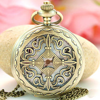 Steam Punk Pocket Watch Locket Round Necklace Pendant (PWAT0109)