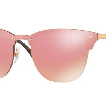 RAY BAN 0RB3576N Blaze Clubmaster Unisex Sunglasses Gold/Pink