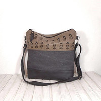 Waxed canvas crossbody bag, Cotton and leather dark gray bag, zipper tote bag, canvas beige crossbody bag, black leather hobo bag, day bag