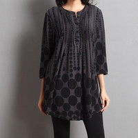 Gray & Black Abstract Dot Notch Neck Tunic