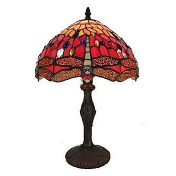 Warehouse of Tiffany: Tiffany Style Red Dragonfly Table Lamp
