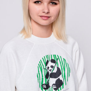 Panda Sweatshirt 80s Animal Print Jumper Bear Sweatshirt Bamboo 1980s Graphic Oversize Sweater Vintage Kawaii Retro Raglan Sleeve Medium