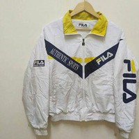 90s vintage Fila Authentic Sports windbreaker Jacket Embroidery big logo hip hop train