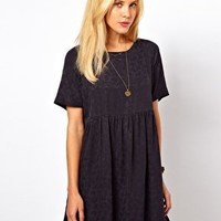 ASOS Smock Dress In Jacquard Tree Texture at asos.com