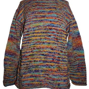 WS 01 Wool Hand Knitted Unisex Multi Color Sweater Sherpa