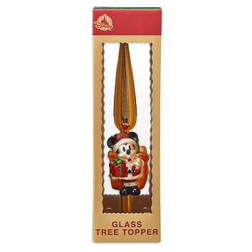 Disney Parks Turn of the Century Holiday Santa Mickey Glass Tree Topper New Box