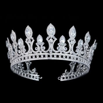 Luxury Bridal Crown Tiara Cubic Zirconia Cosplay Bridal Hair Accessories