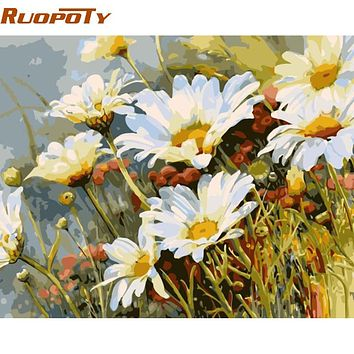 RUOPOTY White Flower Modern Wall Art Canvas Diy Painting By Numbers Acrylic Picture Home Wall Decor Unique Gift For Room Decor
