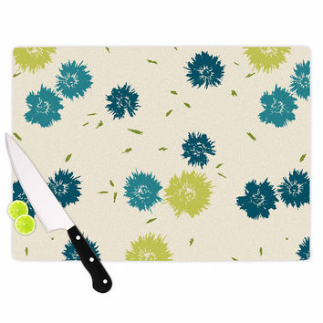 "Gukuuki ""Blue Mollie"" Teal Beige Cutting Board"