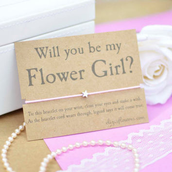 Flower Girl Wish Bracelet, Will You Be My Flower Girl, Bridesmaid Gift, Friendship Bracelet, Wish Bracelet, Bridesmaid Proposal and Giftcard