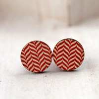 Pretty zigzag wood cabochons earrings
