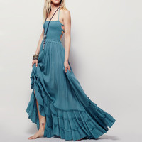 2016 summer Beach dress sexy dresses boho bohemian people Holiday long backless cotton women party hippie vestidos maxi dress