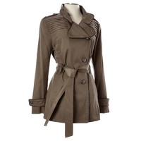 Asymmetrical Button Raincoat Petite 176356283 | Raincoat Trench | Coats | Women | Burlington Coat Factory