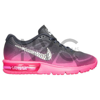 Blinged Womens Nike Air Max Sequent Running Shoes Pink Grey Blinged Out  With Swarovski 7ae81c1e3