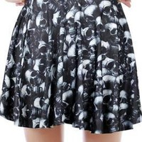 Individualized Skull Printed Mini Skirt