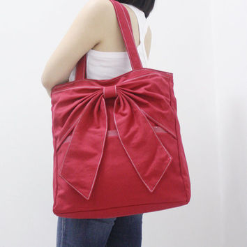 QT Canvas Tote in RED  Double Straps Shoulder Bag by Kinies