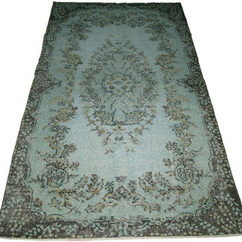 Sale Aqua Green Color Overdyed Handmade Rug  6'8'' x 3'9'' feet
