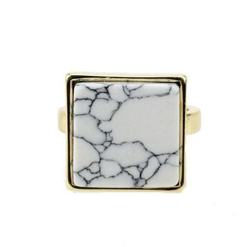 Geometric Square Shape Stone White Opal Pendant Necklace for Women