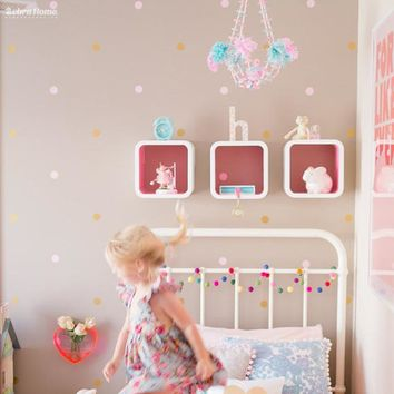 Gold Polka Dots Wall Sticker Baby Nursery Stickers Children Removable Wall Decals Home Decor Art Vinyl Wall Art Free Shipping