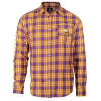 Minnesota Vikings Wordmark Basic Flannel Long Sleeve Shirt Sizes S-XXL w/ Priority Shipping