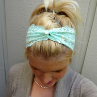 Mint green twist stretch lace headband feminine/classic/romantic