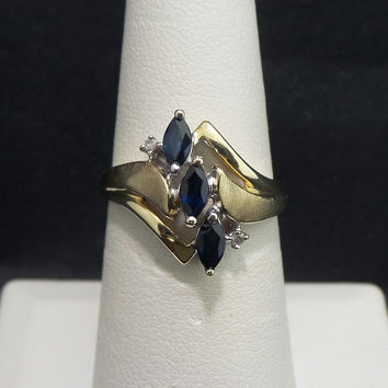 Solid 10K Yellow Gold Marquise Blue .60 ctw Sapphire Diamond Ring - Size 6.5