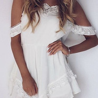Cold Shoulder Lace Trim Romper 10856