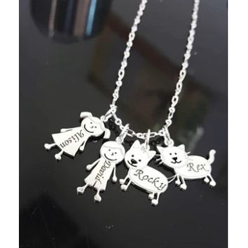 Engraved Family Charm Necklace