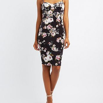 Floral Velvet Bustier Bodycon Dress