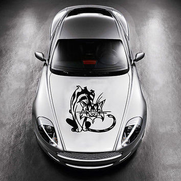 ANIMAL BLACK CAT KITTEN DESIGN HOOD CAR VINYL STICKER DECALS ART MURALS SV1382