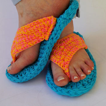Crochet Flip Flops  Slippers, Adult Flip Flop Slippers Crochet Sandals, Multicolored Barefoot Sandals, Multicolored Flip Flops  Slippers