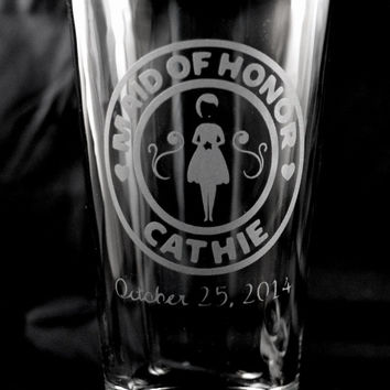 Custom Etched Wedding Party Gift Favor Glasses Maid of Honor, Bridesmaids