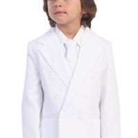 Double Breasted 2 Piece White Formal Dress Suit (Boys 7 - 14 or 12H - 20H)