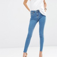 ASOS 'Sculpt Me' Premium Jeans In Sycamore Mid Wash Blue at asos.com