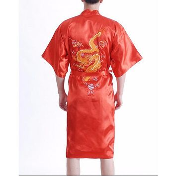 Summer New Green Chinese Men's Traditional Robe Bathrobe Novelty Embroider Dragon Sleepwear Kimono Gown Plus S-XXXL 011007