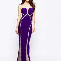 Forever Unique Bianca Sweetheart Maxi Dress with Sheer Embellished Panels at asos.com