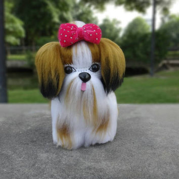 "Crochet Shih Tzu dog 8"" Best gift for everyone,  kid or couple, wedding, birthday gift, Handmade product from Thailand."