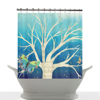 Artistic Shower Curtain - Evening Tree ,Butterfly, unique, Illustrated, music, blue, teal, ombre, colorful, decor, home