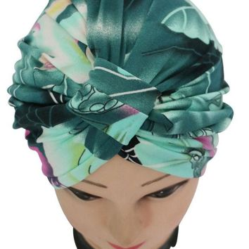 DCCKWQA 2016 New Vintage Dark Green Floral Print Indian Turban Hat For Women Ladies