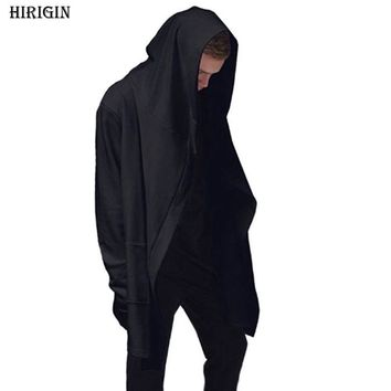 HIRIGIN Fasion Men  Cardigan Hooded Solid Long Sleeve Coats Jackets ninja goth gothic punk hoodie Sweatshirts